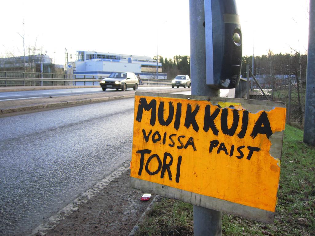 Muikkuja-mainos Espoon keskuksessa