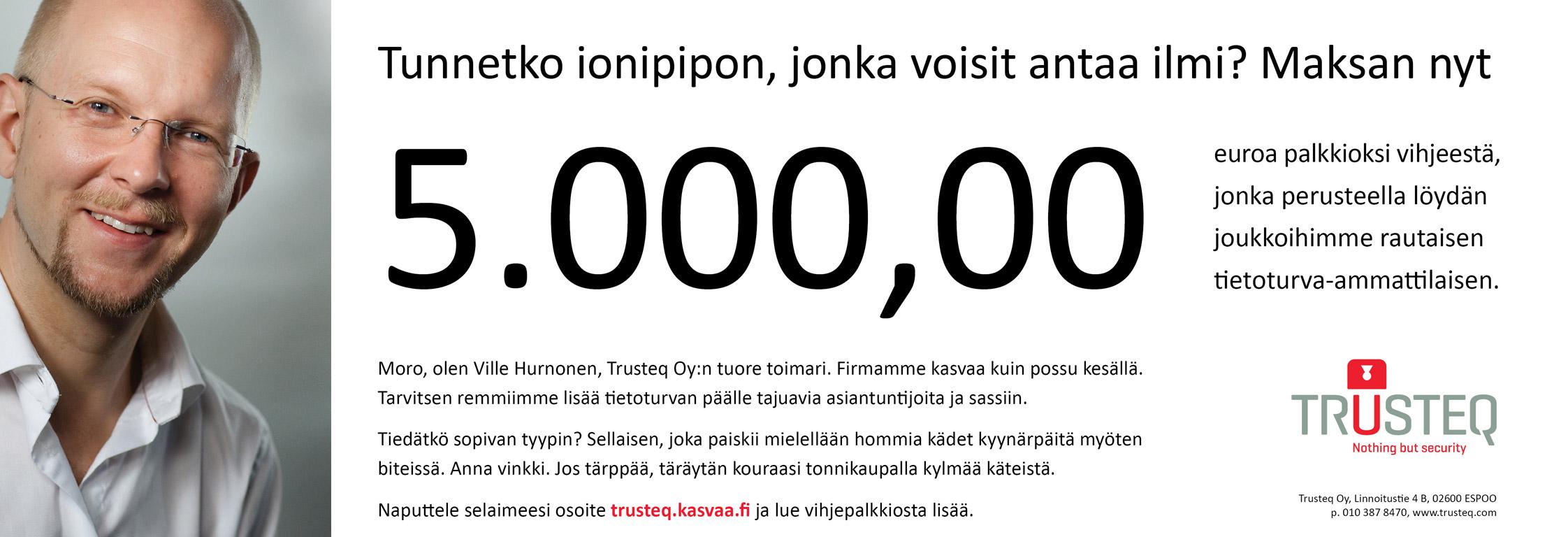 Trusteq-rekrytointi-ilmoitus, Helsingin Sanomat 30.8.2009