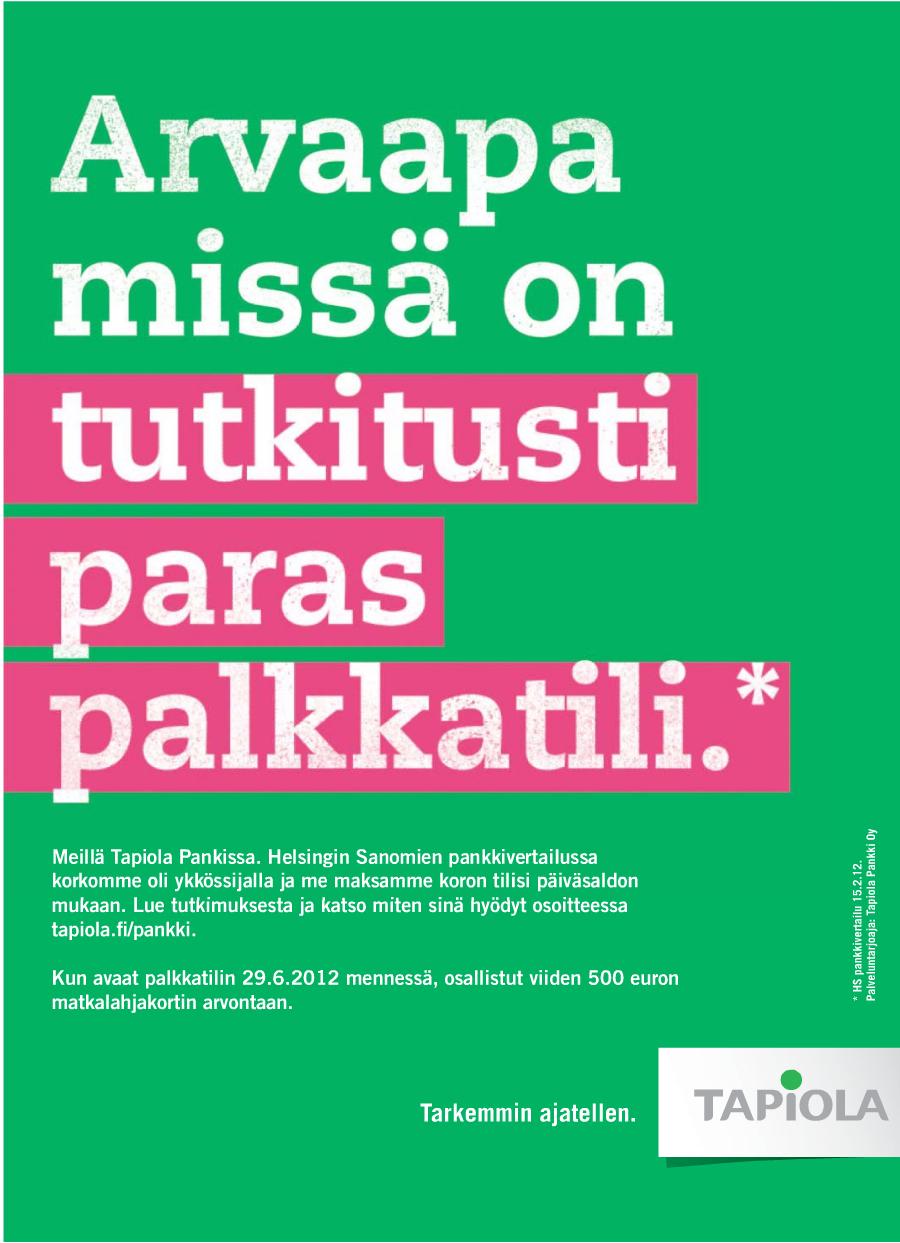 Tapiolan palkkatilimainos Hesarissa 23.4.2012