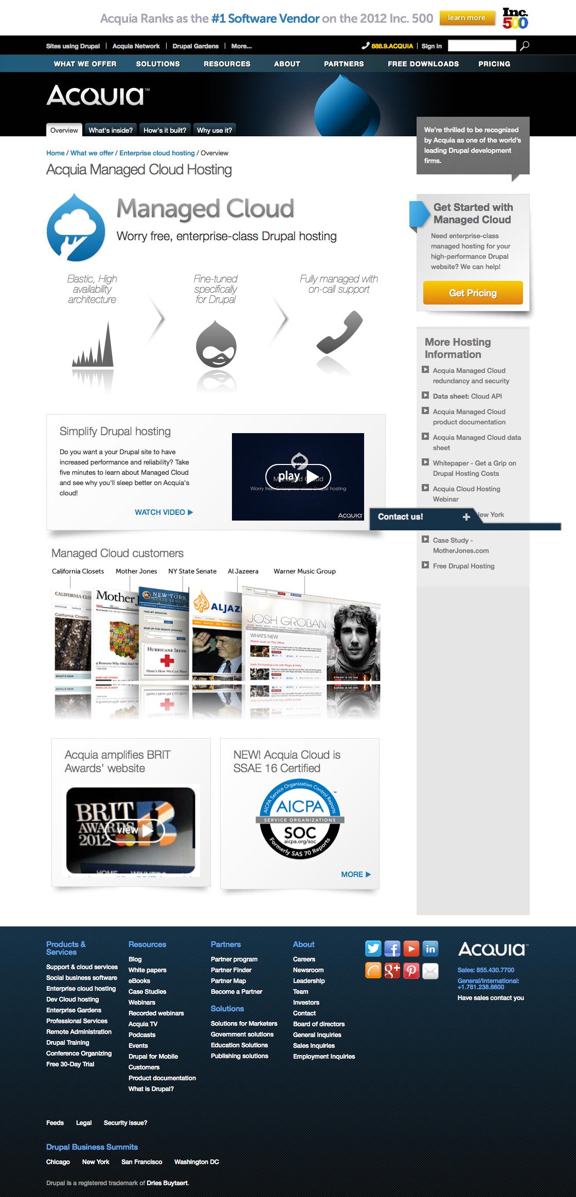 Acquia.com markkinoi Drupal-palvelua selkeästi: täältä sitä saa!