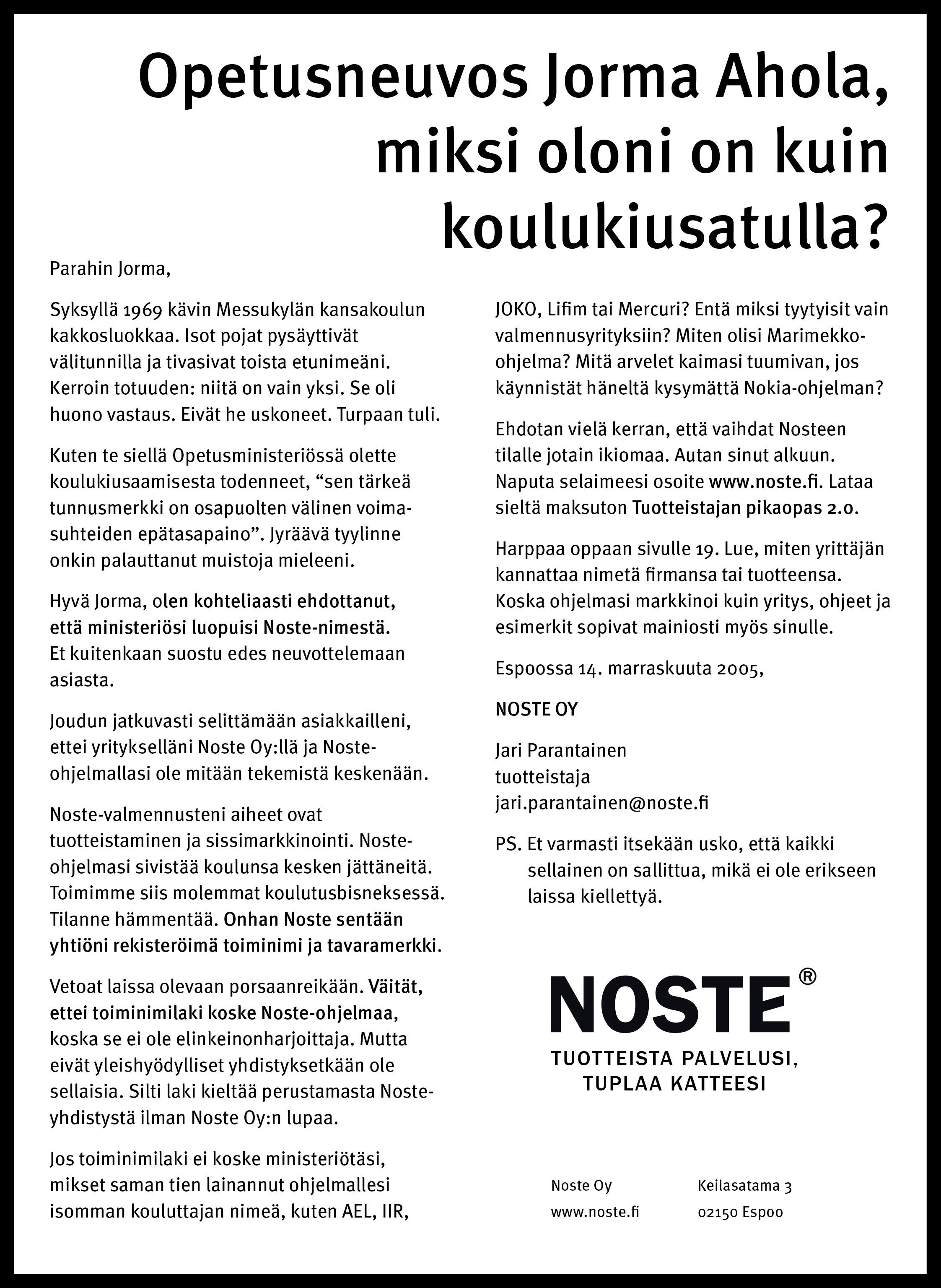 Avoin kirje opetusneuvos Jorma Aholalle