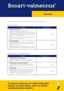 Bonari-hinnasto, sivu 1