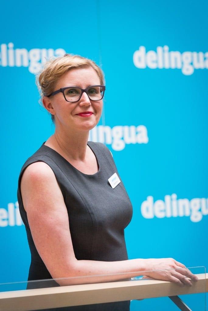 Delingua Oy:n yrittäjäomistaja & toimitusjohtaja Katja Virtanen ehdotti, että tuparipuheeni tulkattaisiin englanniksi. Kuva: Andreas Thomasson